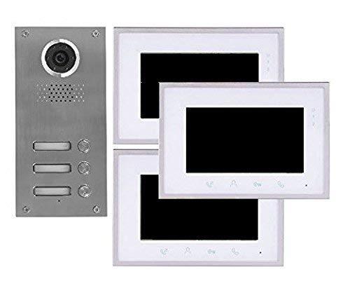 2 Draht 3-Familienhaus Video Türsprechanlage Gegensprechanlage mit 7 '' Monitor