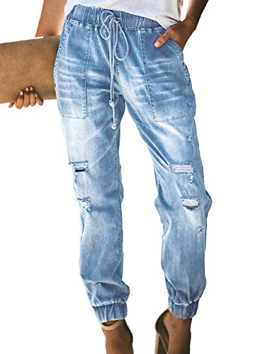 Uusollecy Damen Boyfriend Lochjeans Elastischer Kordelzug Die Stylische Ripped Jeans Taschen Hoher Taille Gerades Hosen,Hellblau, XL
