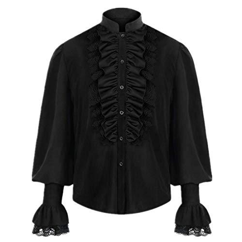Andiwa Camisas gticas para hombre, con volantes, estilo medieval, con encaje, para cosplay, estilo steampunk, victoriano, pirata, manga larga, disfraz de Halloween