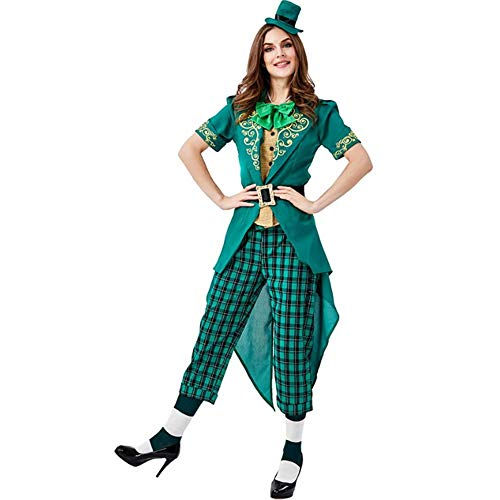 Alisoya St. Patricks Day Kostüme Irische Outfits Grün Fancy Kleid Kleeblatt Kostüme Charmante Kobold Kostüm Onesies für Frauen Männer Mädchen Jungen