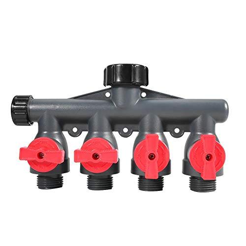 Cafopgrill 4-weg slangafscheider, waterkraan, tuinkraan, ventieladapter, buitenkraan, irrigatiesystemen, druppels en gazon, G3/4in
