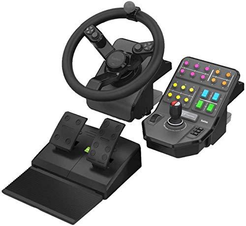 Logitech G Saitek Farm Sim Controller, Farming Simulator Bundle bestehend aus Lenkrad, Steuerkonsole, Gas- und Bremspedal, 900° Lenkbereich, 38+ Tasten, USB-Anschluss, PC/Mac - schwarz