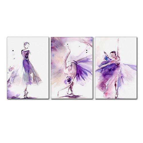 Cqzk Acuarela púrpura Hermosa Bailarina Arte Cuadros de Pared para Sala de Estar de la niña decoración del Dormitorio Pintura de la Lona decoración del hogar de Moda 40x60cmx3 sin Marco