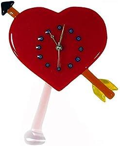 Reloj de pared original de cristal de Murano OMG Love Heart Péndulo - Reloj de pared