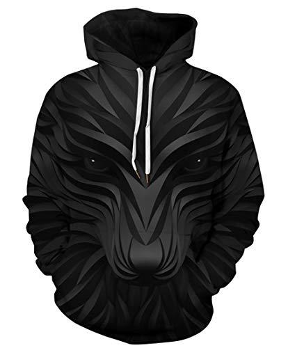 URVIP Unisex 3D Druck Hoodie Halloween Weihnachten Kapuzenpullover Langarm Oversize Sweatshirt Loose Fit Kapuzenjacke mit Großer Tasche QYDM-417 S/M