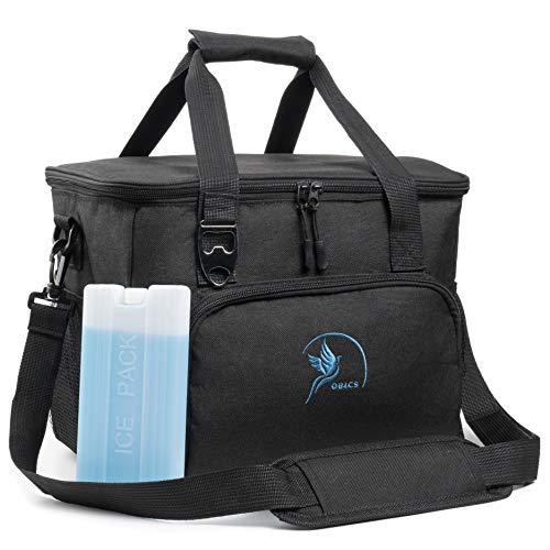 Obics kleine Kühltasche 20 Liter Gefriertasche klein für unterwegs, Schwarze Isotasche Picknicktasche mit Kühlakku & Fächer, Thermotasche Essenstasche für Fahrrad isoliert Lunchbag Kühlbox Schwarz 20l