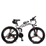Las Bicicletas Eléctricas Plegable Bicicleta De Montaña, De 26 Pulgadas 36V / 8Ah Adulto E-Bici Con Extraíble De Iones De Litio, 3 Ciclismo Montar Modos De 2 Modos De Batería,Blanco,kettle battery