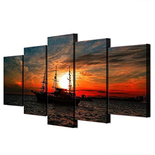 ELSFK Cuadro En Lienzo Paisaje Marino océano Barco Atardecer Impresión De 5 Piezas Material Tejido No Tejido Impresión Artística Imagen Gráfica Decor Pared 150x80cm