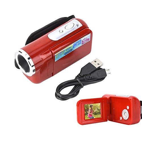 Plyisty Cámara Digital portátil para niños, 1080P USB2.0 2 Pulgadas 16X HD Video DV Cámara Videocámara, para niñas Niños de 3 a 12 años Regalo de cumpleaños Festivo, Negro/Rojo(Rojo)