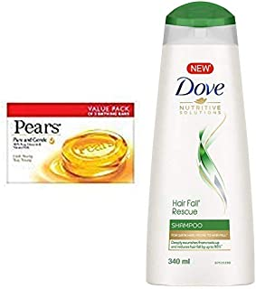 Pears Pure And Gentle Bathing Bar, 125g (Pack Of 8) & Dove Hair Fall Rescue Shampoo, 340ml