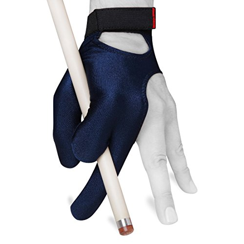 Fortuna Billiard Glove Classic - for Left Hand - Blue - with Strap (Medium/Large)
