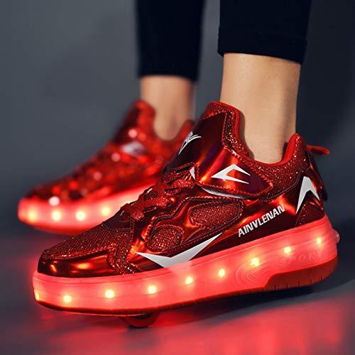 WOFEI Zapatos con Ruedas Zapatillas con Dos Ruedas para Niños Y Niña Led Luces Zapatillas con Ruedas Se Puede Bambas con Ruedas Carga Calzado De Skateboarding,34