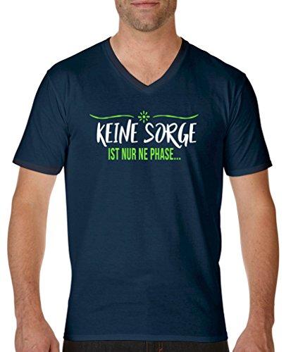 Comedy Shirts T-shirt à manches courtes et col en V pour homme 100 % coton - Bleu - XXL
