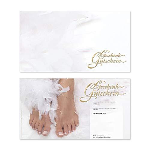 25 hochwertige Gutscheinkarten Geschenkgutscheine. Gutscheine für Fußpflegesalon Fingernagelstudio. Vorderseite hochglänzend. FU1216