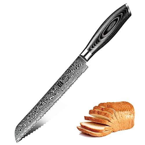 XINZUO Brotmesser Küchenmesser Klinge 20cm Damast Kochmesser 67 Schichten Damaststahl Messer mit Pakkawood Griff - Ya Serie