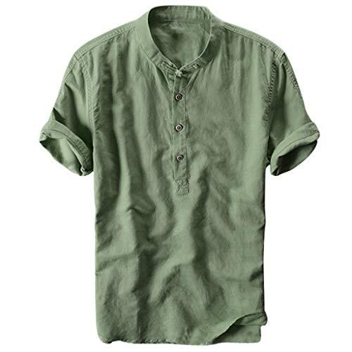 Celucke Oversize Leinenhemd Herren Kurzarm Grandad Ausschnitt, Männer Freizeithemd Henley Shirt Sommer Casual Hemden Leichte Atmungsaktives Bequem Leinen Sommerhemden (Grün, XL)