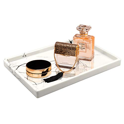 Jolitac Bandeja de tocador para baño, bandeja de resina para encimera, bandeja de mármol con patrón negro, organizador de cosméticos para champú, jabón (blanco, grande)