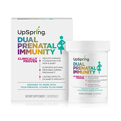 UpSpring Dual Prenatal Immunity Capsules   Helps Support a Healthy Immune System for Mom & Baby*   Take with Prenatal Vitamins   Balances Gut Health - Pregnancy Probiotic – Microbiome Health   30 Ct