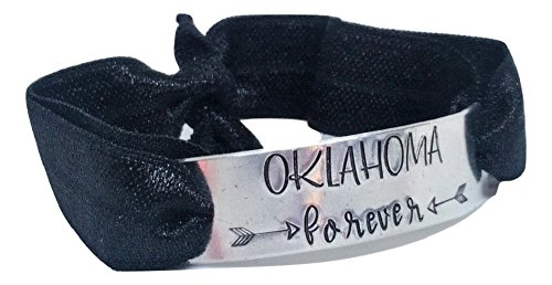 Loaded Lids State Forever Hand Stamped Stretch Hair Tie Bracelet (Oklahoma/Black)