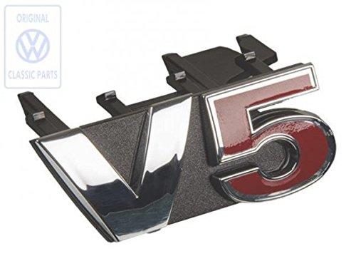 V5 Emblem für den Golf 4 Kühlergrill Frontgrill in Rot Chrom Schwarz | NUR Hier + Extra Schlüsselring Mit Schraubverschlusss | SET