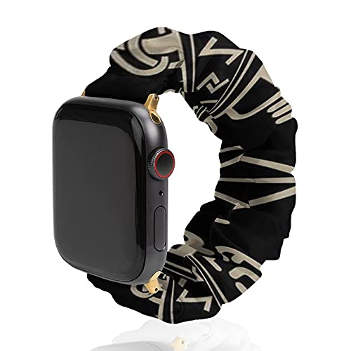 Smart Watch Band Compatible with Apple Watch Band, Black Celtic Viking Design Magical Runic Compass Soft Elastic Polyester Watch Strap Compatible with iWatch Series 6/5/4/3/2/1