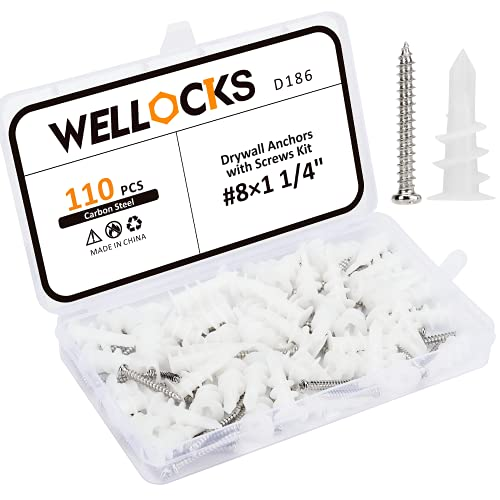 WELLOCKS Drywall Anchors Screw Kit 110 PCS #8×1 1/4' Metal Self Tapping Screw Pan Head White Zinc Coating and Plastic Wall Anchors Set Wall Plug Bolts Expansion Bolt for Wallboard Concrete(D186)