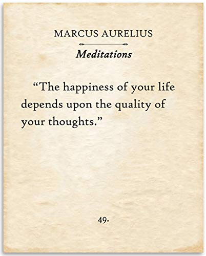 Marcus Aurelius - The Happiness Of Your Life - 11x14 Unframed Typography Book Page Print - Great Philosophical Gift for Literary Fans Under $15