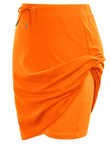 JACK SMITH Women's Athletic Running Skort Pleated Workout Skirt Shorts for Tennis Golf Fitness(XL,Orange)