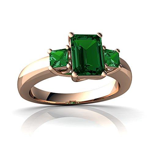 14kt Rose Gold Lab Emerald 7x5mm Emerald_Cut Three Stone Trellis Ring - Size 6