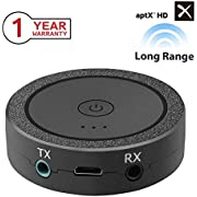 Wireless Bluetooth Transmitter V4.2 Portable USB Bluetooth Adapter Wireless Transmitter Connected to 3.5mm Audio Receiver Devices Low Latency Paired for PC TV Headphones Home Stereo Music