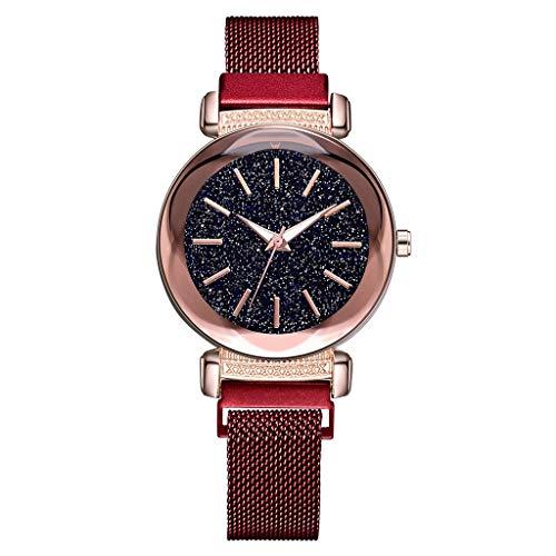 Damen Armbanduhr LEEDY Frauen Fashion Einfache Designer Sternenklarer Himmel Uhr mit Edelstahl Mesh Damenuhren Klassisch Dünne Analog Quarz Uhren