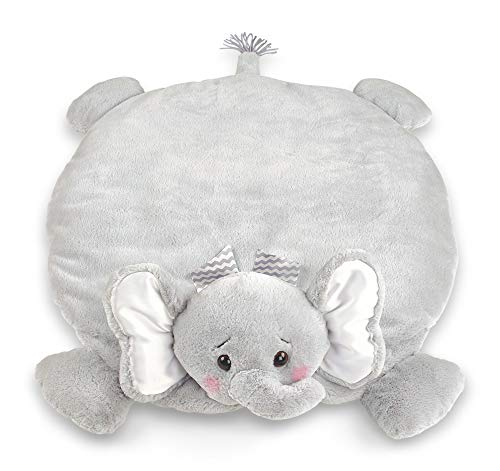 Bearington Baby Lil' Spout Belly Blanket, Gray Elephant Plush Stuffed Animal Tummy Time Play Mat