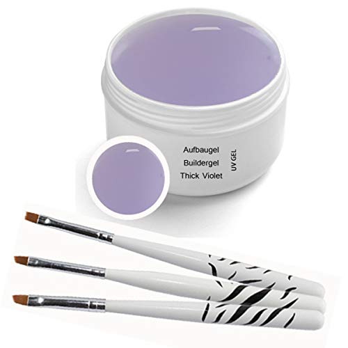 UV Aufbaugel - Thick Violet 30ml inkl. 3 tlg. Pinselset