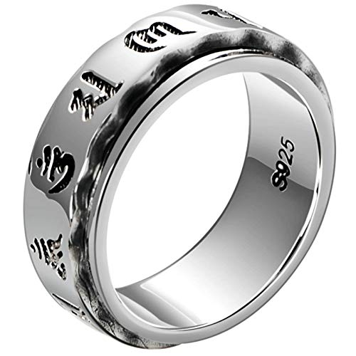 Aienid Wedding Rings 925 Silver Rotating Ring Buddhist Mantra Ring for Men Silver