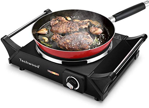 """Techwood Hot Plate Portable Electric Stove 1500W Countertop Single Burner with Adjustable Temperature & Stay Cool Handles, 7.5"""" Cooktop for Dorm Office/Home/Camp, Compatible for All Cookwares (Cast Iron Stove, Single stove)"""