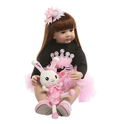 Nangjiang 60 cm Realistische Puppe Silikon Vinyl Neugeborene Spielzeug Langhaar Mädchen Prinzessin Kleidung Realistische Geschenke handgefertigt