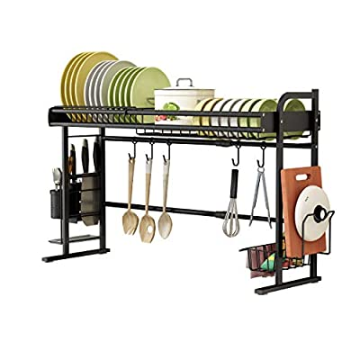 JoyRain Expandable Dish Drying Rack, Over Sink Width Adjustable Kitchen Cabinet Storage Shelf Rack, (Width24''-36.6'' x Depth11.8'' x Height21.3''), Black by
