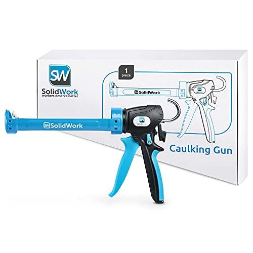 SolidWork Pistola silicona profesional con palanca ajustable en una proporción de 24:1 o 12:1 - Pistola de silicona para manejar todos los cartuchos de silicona y adhesivo de 310 ml
