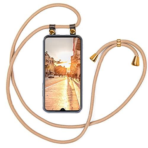 moex Handykette kompatibel mit Xiaomi Mi 9 SE Hülle mit Band Längenverstellbar, Handyhülle zum Umhängen, Silikon Hülle Transparent mit Kordel Schnur abnehmbar in Gold