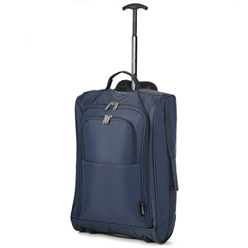 5 Cities Black Carry On Lightweight Cabin Trolley Bag Hand Luggage, 55 cm, 42L, Navy