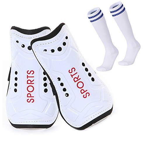 Homo Trends - Espinilleras de fútbol, 3 tamaños, calcetines de fútbol, espinilleras para niños, calcetines de fútbol para niños y niñas, equipo de protección para piernas y pantorrillas (blanco)