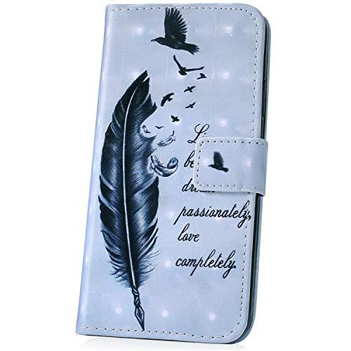JAWSEU kompatibel mit Huawei P30 Pro Hülle Leder Flip Case Wallet Tasche 4D Effekt Glitzer Bling Glänzend Handyhülle Leder Schutzhülle Brieftasche Handytasche Kartenfach Ständer, Feder Vogel