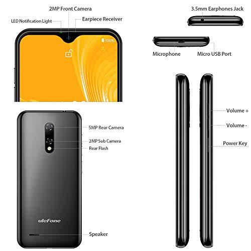 Android 10 3G Telephone Portable Debloqué Pas Cher Ulefone Note 8 Smartphone Pas Cher 2Go RAM 16Go ROM avec Fente 3 en 1, Écran de 5,5 Pouces, Triple Caméras, Face ID, Dual SIM, GPS, WiFi