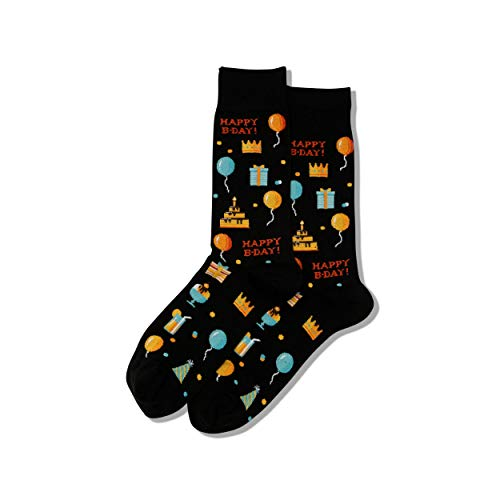 Hot Sox Herren-Socken für Gesprächsstarter, lässig, Crew-Socken Gr. M, Happy Birthday (Schwarz)