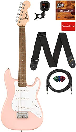 Fender Squier 3/4 Size Kids Mini Stratocaster Electric Guitar Learn-to-Play Bundle with Cable, Tuner, Strap, Picks, Fender Play Online...