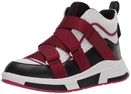 FitFlop womens Sneaker, Fuchsia/Cream/Black, 8.5 US medium