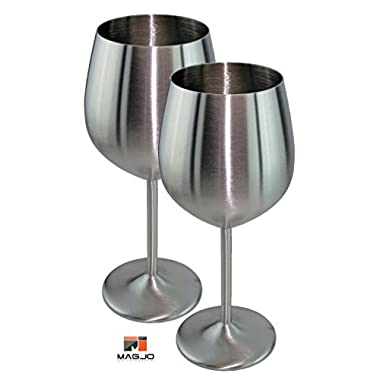 MagJo Stainless Steel Wine Glasses- Highest Quality Stainless Steel (2)