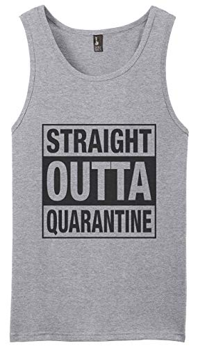 Graphic Novelty Adult Social Distancing Shirt Straight Outta Quarantine Muscle Shirt Tank Top S Heather Gray