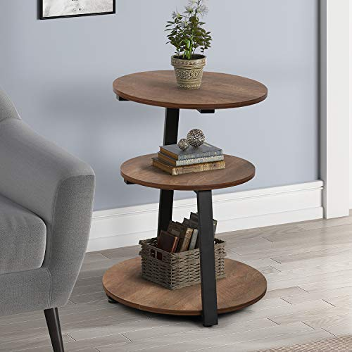 Round End Table, 3-Shelves Modern Side Table, Wood Bedside Table