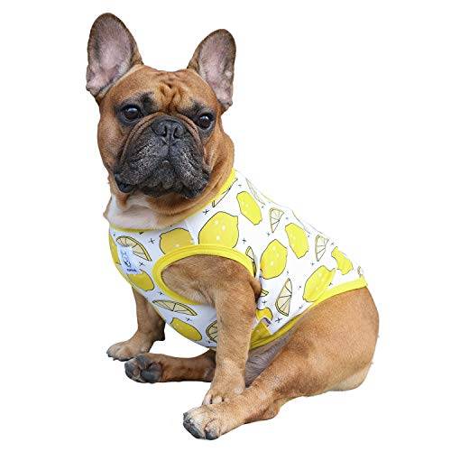 iChoue Dogs Clothes Vest Fruit Print Pajama for French Bulldog Pug Boston Terrier Frenchie Cotton Sleeveless Cute Tank Top - M Pattern of Lemon